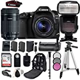 Canon EOS 80D Digital SLR Camera Bundle with Canon EF-S 18-55mm f/3.5-5.6 Image Stabilization STM Lens and EF-S 55-250mm f/4-5.6 STM Lens, Professional Accessory Bundle (16 items)