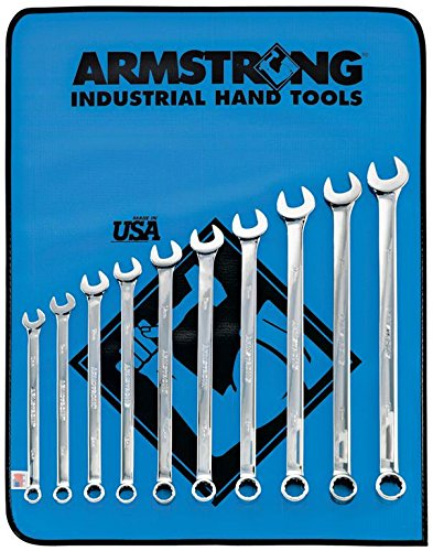 Armstrong 52-671 12 Point Metric Full Polish Extra Long Combination Wrench Set, 10-Piece