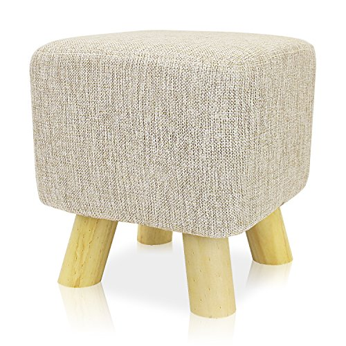 Mini Round Stool - DL furniture - Ottoman Foot Stool Square Shape , 4 leg Stands, Washable Cushion | Linen Fabric, Beige Cover