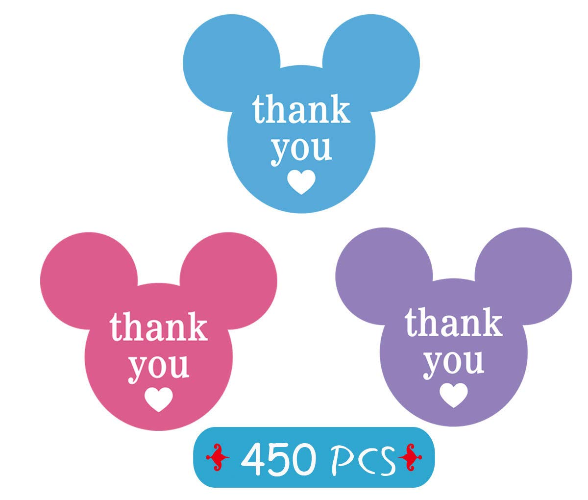 2.25 x 2 Mickey Minnie Colorful Thank You Stickers, Mickey Mouse Ear Labels Thank You Labels with Heart for Decorations, Parties, Envelope Seals, Gift Tags, 450 Labels Pack Blue, Pink, Purple
