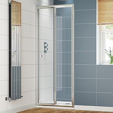 Ibathuk 700mm Bifold Glass Shower Enclosure Reversible Folding