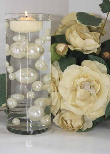 Easy Elegance by JellyBeadZ Brand 34 Ivory Pearl Beads Including 12 Gram Pack Clear JellyBeadZ for Wedding Centerpieces and Decorations (Unique Wedding Centerpieces)