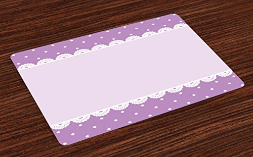 Ambesonne Mauve Place Mats Set of 4, Old Fashioned Ornate Lace Pattern with Classical Polka Dots Background Image, Washable Fabric Placemats for Dining Table, Standard Size, Lavender Lilac ()