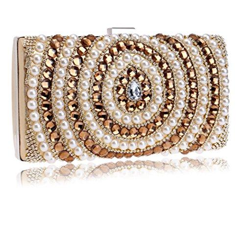 Wedding Pearl Clutch Women Bag Party Bag Purse Bridal Handbag Envelope Ladies Shoulder Diamante Evening For Clubs Prom Gold Gift Glitter 0qqOxd