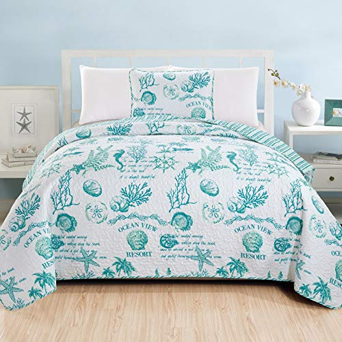 Great Bay Home 3 Piece Quilt Set with Shams. Soft All-Season Microfiber Bedspread Featuring Attractive Seascape Images. Machine Washable. The Catalina Collection Brand. (Twin, Aqua) (Quilts Aqua)