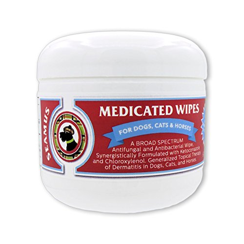 Seamus Medicated Pet Wipe - Chloroxylenol and Ketoconazole – Anti-fungal & Anti-microbial - A water-based pad that does not sting burn or cause skin irritation for Dogs, Cats and Horses