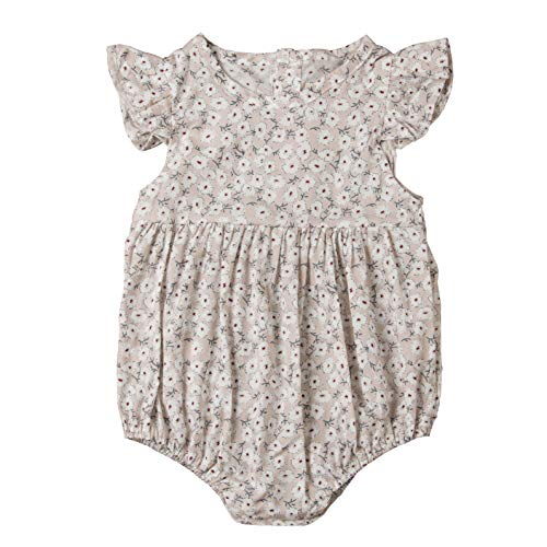 - Mubineo Toddler Baby Girl Newborn Summer Adorable Flower Ruffle Flower Romper Clothes (Apricot, 6-12 Months)