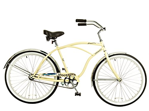 Titan Docksider Men's Beach Cruiser Bicycle, 26 x 18-Inch, Glossy Cream Beige