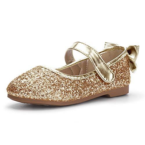 PANDANINJIA Girl's Shoes Toddler Little Girls Angela Ballet Flat Dress Shoes Mary Jane Party Wedding School Shoes Gold(Flower Girl/Little Kid) ()