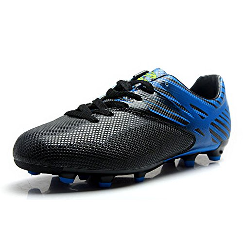 Tiebao Boys Men's Anti-Skid Spike Cool Firm Ground Football Shoes Professional Soccer Training Shoes Black&Blue S76519 Adults US10