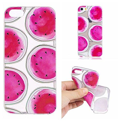 iPhone 5 5S SE Custodia , Leiai Moda Anguria Trasparente Silicone Morbido TPU Cover Case Custodia per Apple iPhone 5 5S SE