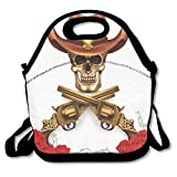 Sjqwnswjw Boys One Size Sheriff Skull In Cowboy Hat Crossed Guns Red Blooms Death Duel Cute Gym Drawstring Bags Travel Backpack Tote School Rucksack