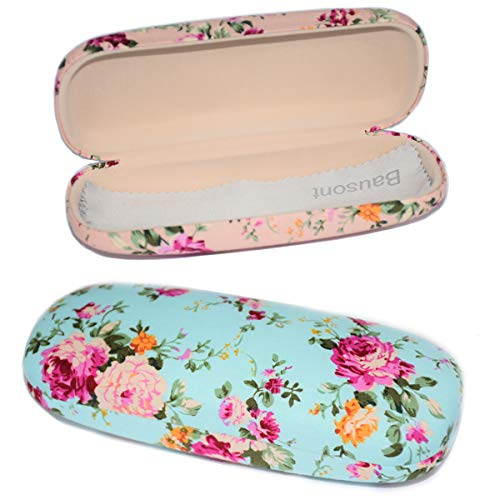 2 Pack Durable Floral Small Eyeglass Case Hard Protective Eye Case for Glasses ()