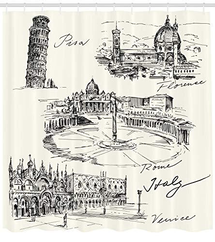 Ambesonne Sketchy Shower Curtain, Travel The World Themed Historical Italian Landmarks Venice Rome Florence Pisa, Cloth Fabric Bathroom Decor Set with Hooks, 70