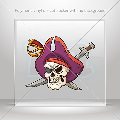 Stickers Decal Cross Swords Skull Pirate Tablet Laptop Weatherproof Sp (4 X 3.06 Inches) -