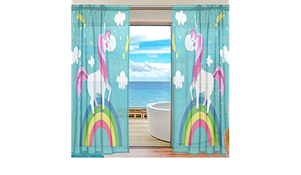 SEULIFE Window Sheer Curtain Cute Animal Panda Rainbow Star Stripe Voile Curtain Drapes for Door Kitchen Living Room Bedroom 55x78 inches 2 Panels