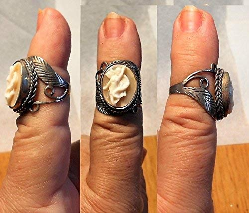 1 Sterling Dancing Cameo Ring with Ornate Scrolls & Leaf Silver Ring, Vintage Full Profile Hand Carved Signed Cameo.