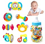 Liberty Imports Deluxe 7 Piece Baby Rattles Teether & Shakers in Milk Bottle   Grab and Spin Musical Fun Toy Gift Set   Early Educational Toys for 3, 6, 9, 12 Month Baby Infant, Newborn, Toddler