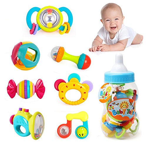 Liberty Imports Deluxe 7 Piece Baby Rattles Teether & Shakers in Milk Bottle | Grab and Spin Musical Fun Toy Gift Set | Early Educational Toys for 3, 6, 9, 12 Month Baby Infant, Newborn, Toddler (Rattles Toys Set)