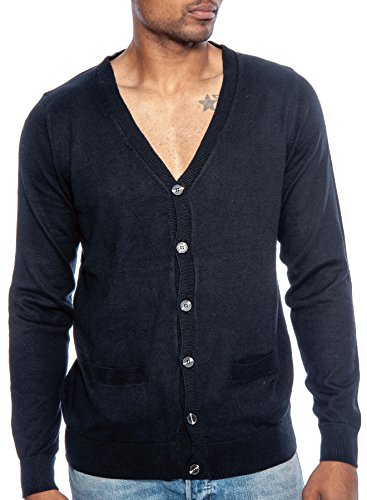 TR Fashion Men's Long Sleeve Cotton V-Neck Button Front Cardigan Sweater (Black, Medium)