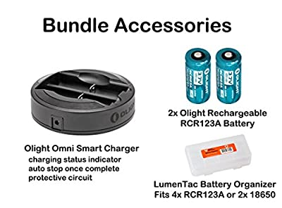 OLIGHT PL-2 PL2 Valkyrie 1200 Lumen Rail Mounted Pistol Light Charging Bundle w/ 2X CR123A Batteries, 2X RCR123 Rechargeable Batteries & Omni-Dok-II Charger & LumenTac Battery Organizer