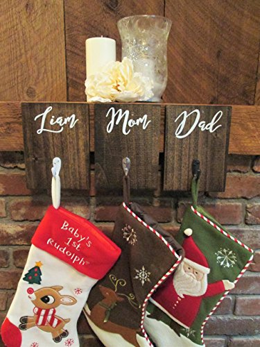Personalized wooden stocking hanger customize colors, rustic stocking holder for wall, stocking hanger with hooks, custom stocking hooks from Perryhill Rustics LLC