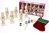 Set of Six Mini Paint It Yourself Traditional Decorative Holiday Season Wooden Christmas Nutcrackers Craft Kit & Stocking Tree Ornament