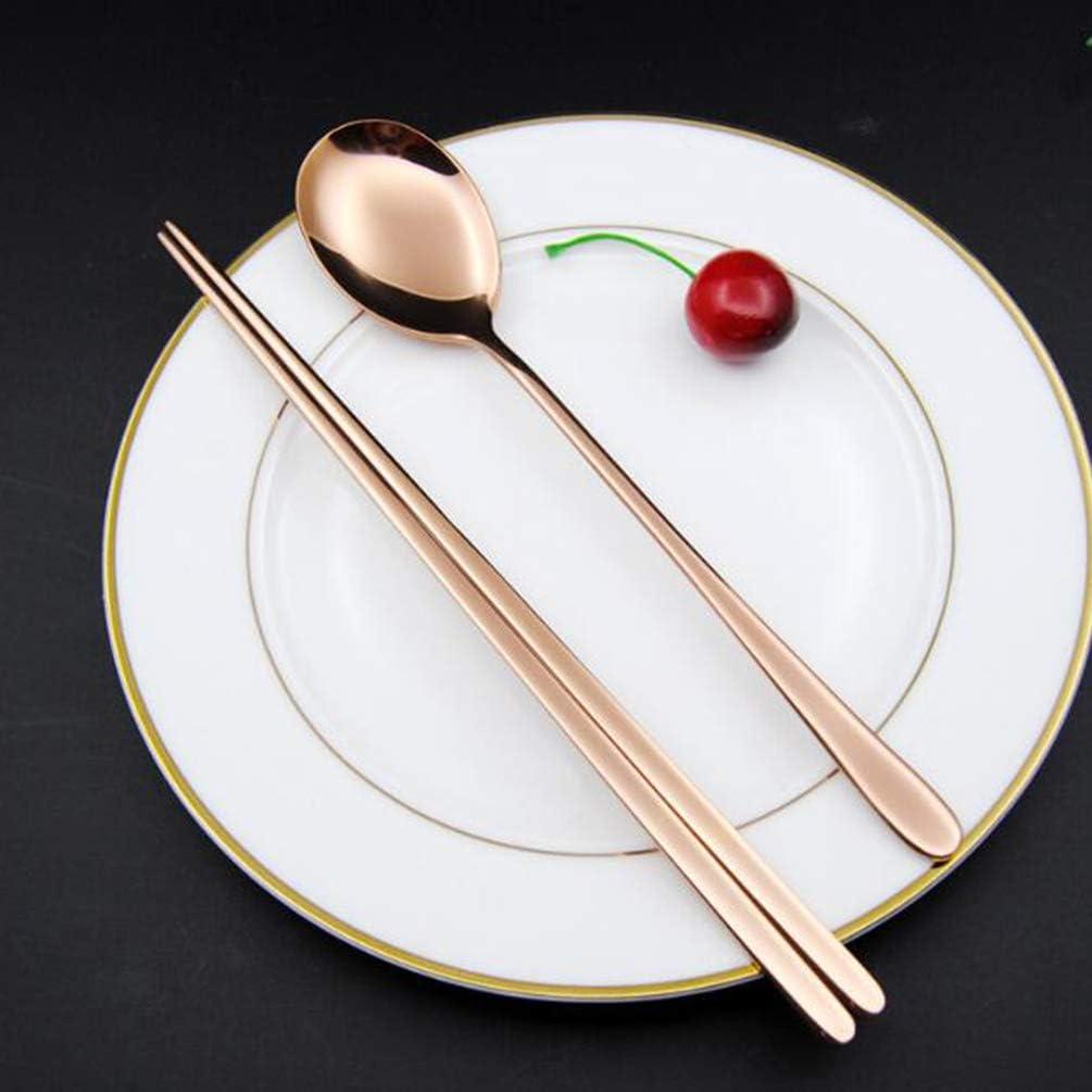 UPKOCH 4 Set Cucchiai E Bacchette in Acciaio Inossidabile Coreano Riutilizzabili Posate per Cucchiaio in Metallo Chopstix Posate per Bar per Banchetti a Casa