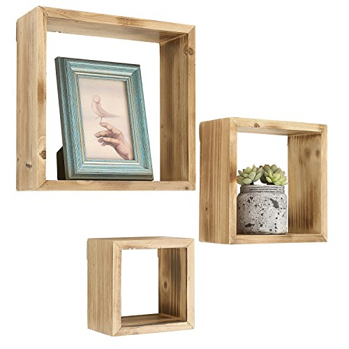 Set of 3 Blonde Torched Wood Finish Wall Mounted Square Floating Shelf Display Shadow Boxes (Blonde Wood Box)