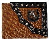 Horseshoe Wallets Genuine Tan Leather Cowboy Western Mens Bifold Concho