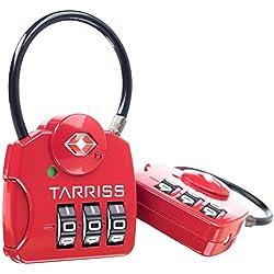 TSA Lock w/ SearchAlert Red by Tarriss, 2 Pack TSA Luggage Locks /