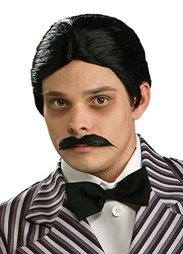 Popcandy Men's The Addams Family Gomez Black Wig and Moustache Kit