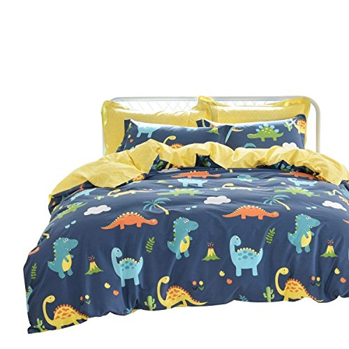 Blue Kids Dinosaur (Brandream Kids Bedding Sets Queen Size Dinosaurs Bedding Blue Girls Boys Duvet Cover Set 3-Piece(Comforter Not Included))