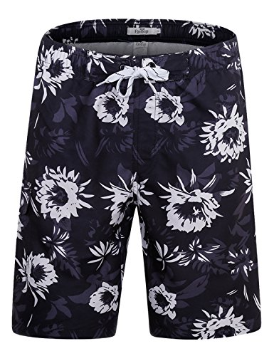 ELETOP Men's Swim Trunks Quick Dry Board Shorts Beach Holiday Swimwear Print Bathing Suits Blooming Flowers Black EHS013-L