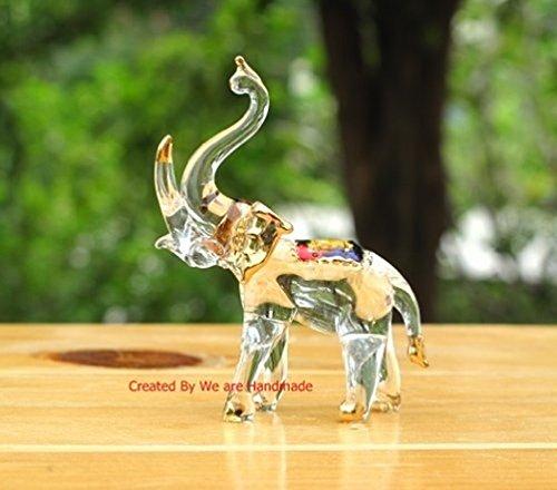 Handmade Elephant Art Glass Blown Wild Animal Figurine - No.2 -