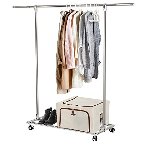 Lifewit Rolling Clothes Rack Heavy Duty Garment Rack Adjustable Clothing Rack with Shelf