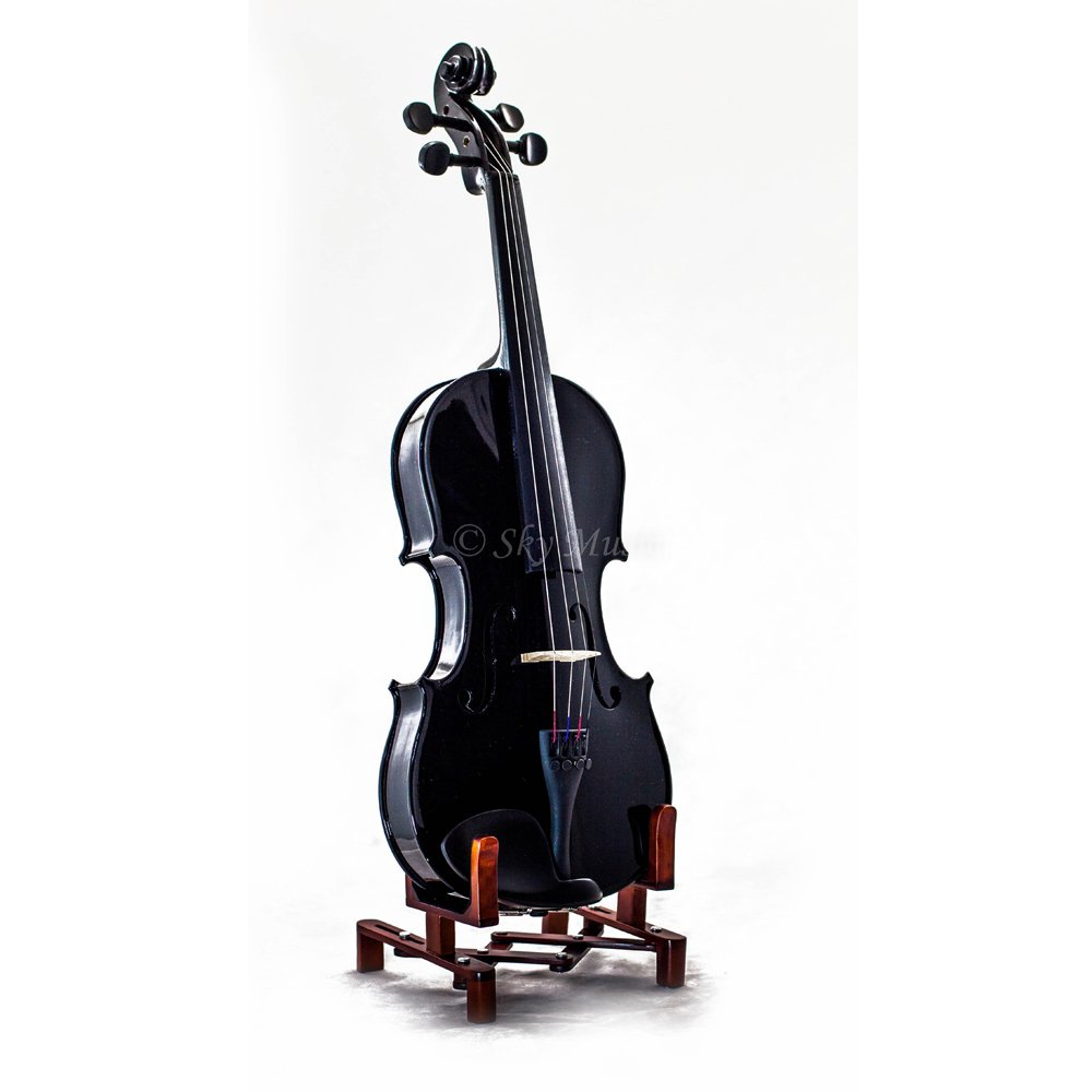Sky 4/4 Full Size Solid Wood Black Violin with Case, Brazilwood Bow