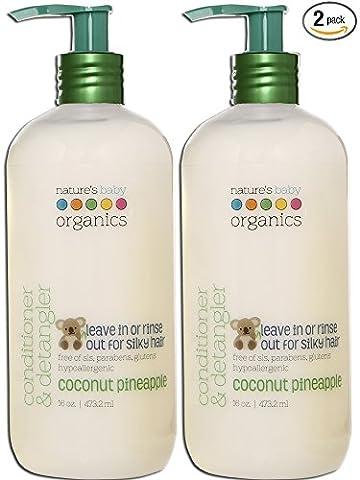 Nature's Baby Organics Conditioner & Detangler, Coconut Pineapple, 16 oz (2-Pack) | Babies, Kids, & Adults! Natural, Moisturizing, Gentle, Rich, Hypoallergenic | No Chemicals, Parabens, SLS, (Organics Coconut Conditioner)