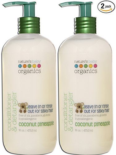 - Nature's Baby Organics Conditioner & Detangler, Coconut Pineapple, 16 oz (2-Pack) | Babies, Kids, Adults! Moisturizing, Gentle, Rich, Hypoallergenic | No Parabens, SLS, Glutens