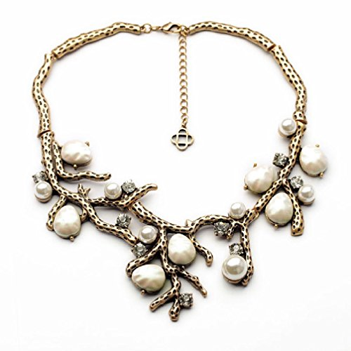 Monet Silver Necklace - Fun Daisy New Design Jewelry Vintage White Simulated Pearls branch Retro Fashion Necklace