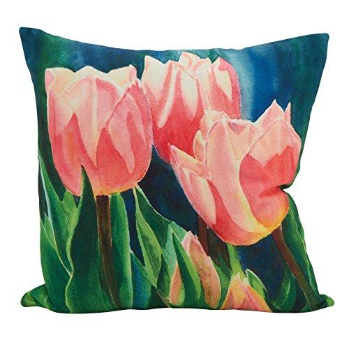 - SARO LIFESTYLE Design Tahiti Tulips Statement Throw Pillow, 18