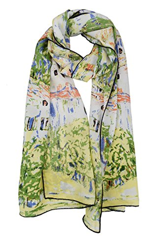 ELEGNA Women 100% Silk Art Collection Scarves (Gustav Klimt Church At Cassone) by Elegna
