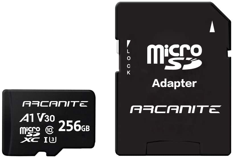 ARCANITE 256GB MicroSDXC Memory Card with Adapter - UHS-I U3, A1, V30, 4K, C10, Micro SD - AKV30A1256