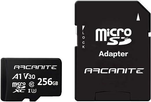 ARCANITE - Tarjeta de memoria microSDXC de 256 GB con adaptador SD, A1, UHS-I U3, V30, 4K, Clase 10, Micro SD, Velocidad de lectura hasta 90 MB/s: Amazon.es: Informática
