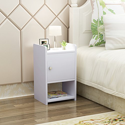 Assembled wooden bedside cupboard Bedroom mini bedside table Simple modern narrow cabinet Bedside cabinet with lock-F by SHYWGFBCWSA
