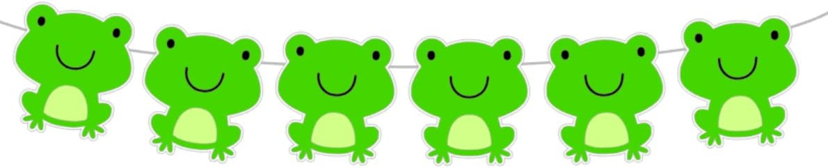 "Crafty Cue 4.25"" Tall FROG Garland, Frog Banner, Frog Birthday, Frog Party, Frog Party Supplies, Frog Decorations"