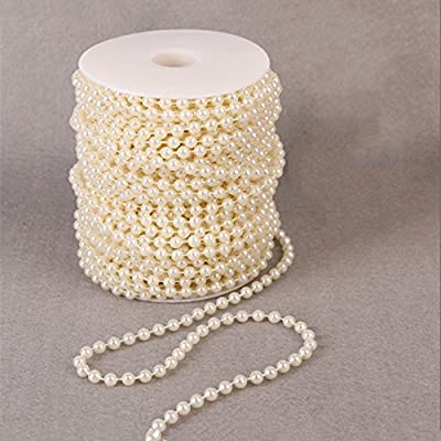 B&S FEEL 8mm X 10m/33ft Faux Pearl Beads Garland Pearl Bead Roll Strand for Wedding Party Decoration, Ivory