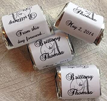 Amazon.com: 300 Personalized MONOGRAM WEDDING CANDY WRAPPERS ...