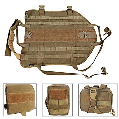 EJG Tactical Service Dog Training Vest Police Molle Dog Compact Vest Harness Nylon Adjustable Vest with 3 Detachable Pouches (Brown, XL)