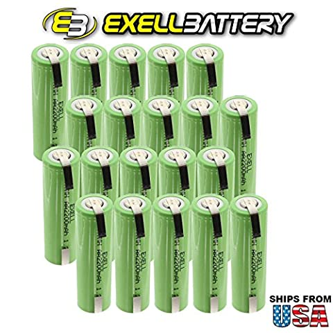 20x Exell 1.2V AA Size 2200mAh NiMH Rechargeable Batteries w/ Tabs for use with cameras, camcorders, mobile phones, pagers, medical instruments/equipment, high power static applications FAST USA - 2,200 Mah Nimh Battery